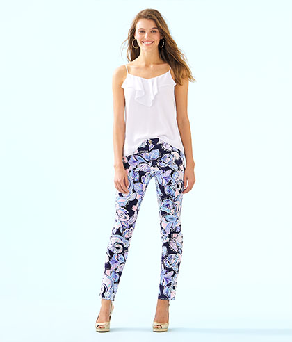 Kelly High Rise Skinny Ankle Pant High Tide Navy Holy Flockamolie