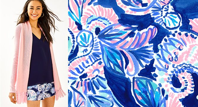 model pairing the print, holy flockamole with pink tropics tint