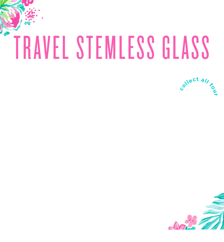collect all four travel stemless glasses