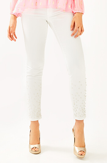 Worth Skinny Jean in Resort White Pearl Embellishment