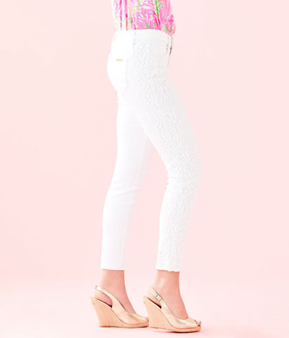 South Ocean Skinny Crop with Lace Resort White