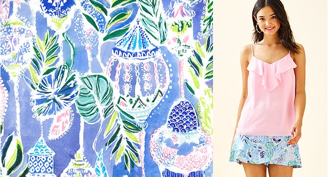 model pairing the print, lapis lanterns with pink tropics tint