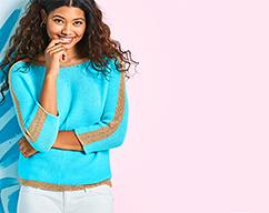 model wearing Sweaters