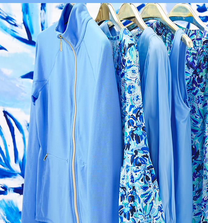 Clothing items on hangers in custom color, Blue Peri
