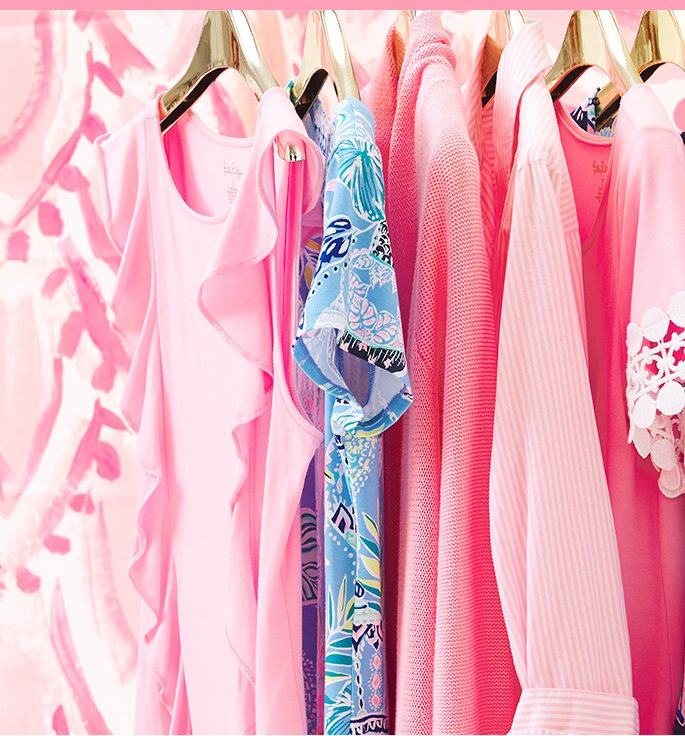 Clothing items on hangers in custom color, pink tropics tiny