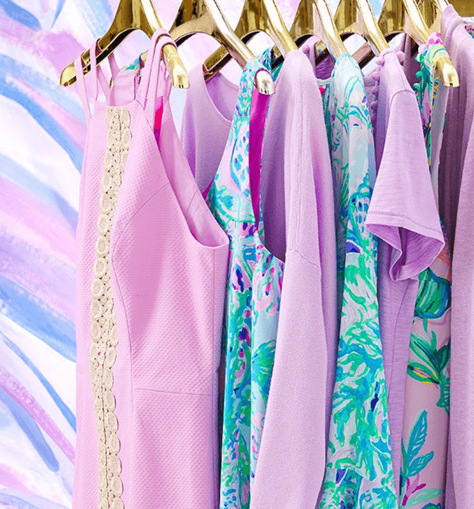 Clothing items on hangers in custom color, Lilac Freesia